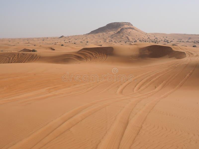 Tracks of offroad driving in desert. Near Dubai stock photography
