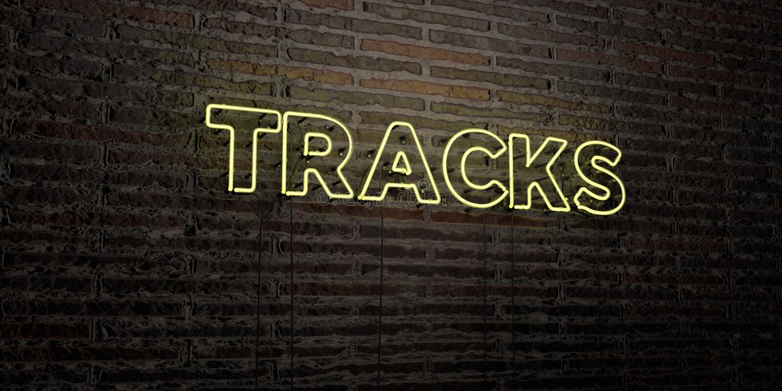 TRACKS -Realistic Neon Sign on Brick Wall background - 3D rendered royalty free stock image vector illustration