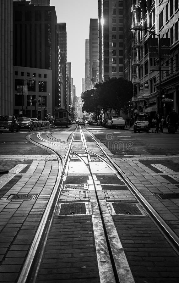 Tracks in San Fransisco stock photography