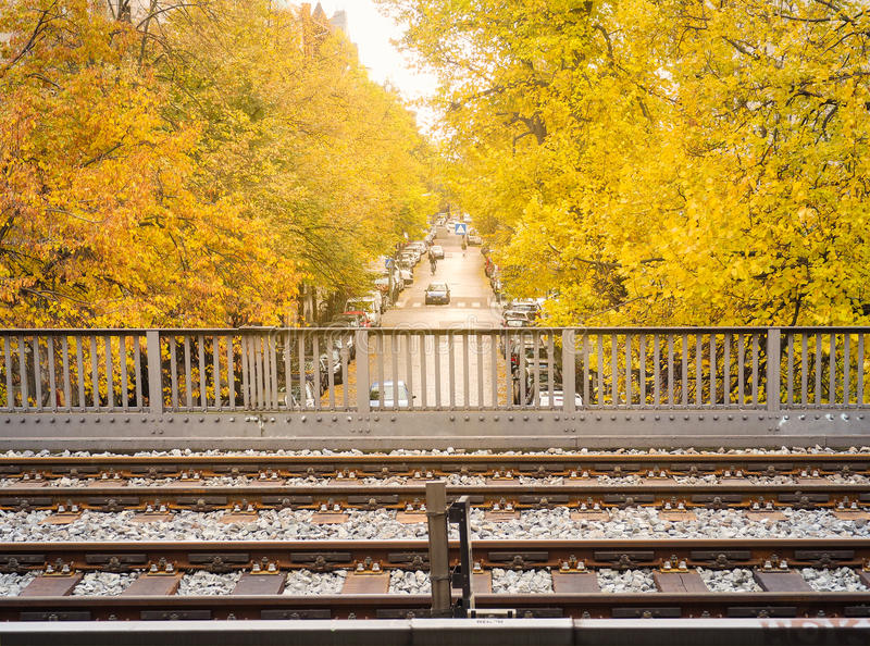 Tracks of sky train with beautiful yellow maple tree royalty free stock photos