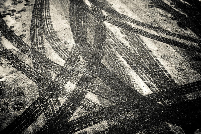 Tracks in the snow. As a background motive royalty free stock images