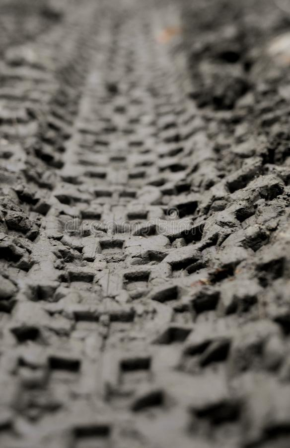 Mountain bike tire tracks. Tracks from the tires of a mountain bike in the soft moist dark dirt royalty free stock photo