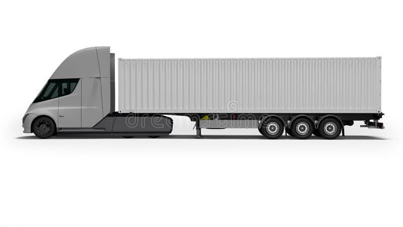Tracteur électrique gris avec la bonne vue 3d de remorque blanche rendre sur le fond blanc avec l'ombre illustration stock