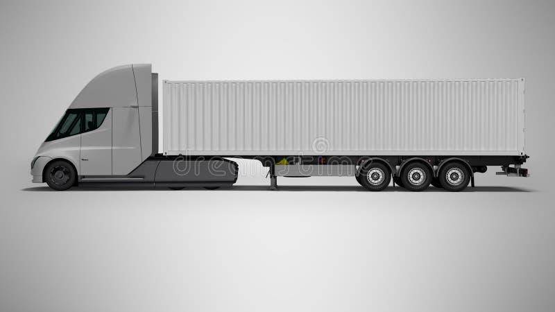 Tracteur électrique gris avec la bonne vue 3d de remorque blanche rendre sur le fond gris avec l'ombre illustration de vecteur