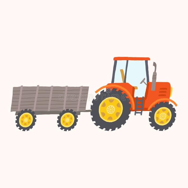 Tracteur rouge avec la remorque Jouet pourpré d'entraîneur illustration libre de droits