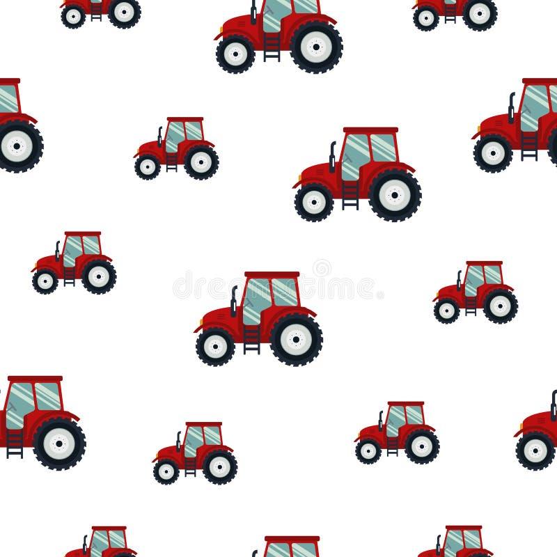 Tracteur rouge de modèle sans couture sur le fond blanc Transport agricole pour la ferme dans le style plat - dirigez l'illustrat illustration libre de droits