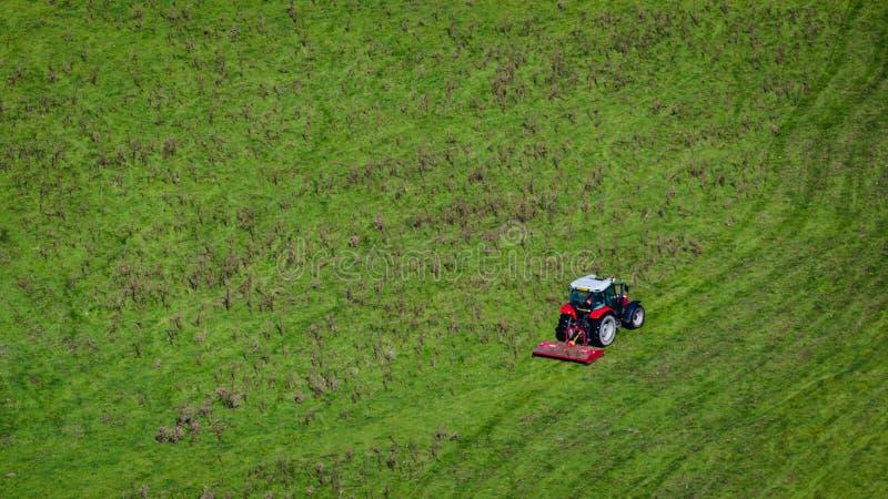 Tracteur rouge sur le champ vert images libres de droits