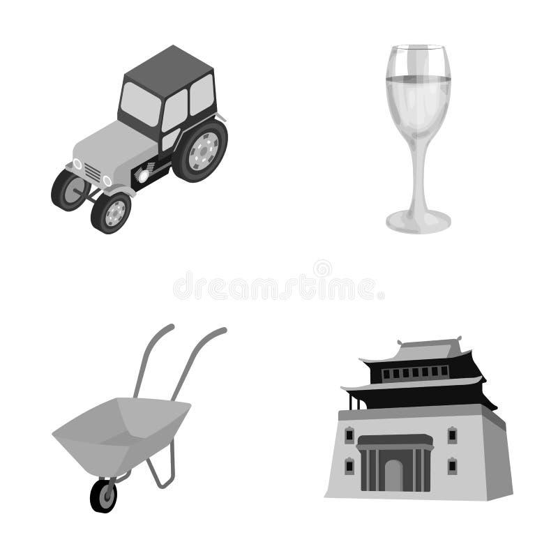 Tracteur, verre et toute autre icône monochrome dans le style de bande dessinée brouette, icônes de construction dans la collecti illustration libre de droits