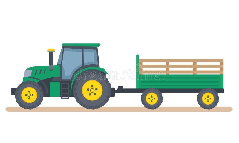 Tracteur vert avec la remorque sur le fond blanc illustration stock