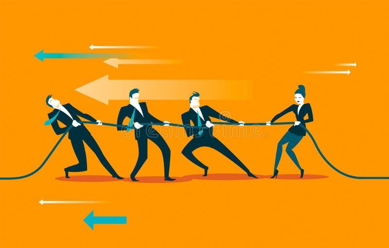 Traction de corde teamwork La femme gagne le groupe d'hommes illustration libre de droits