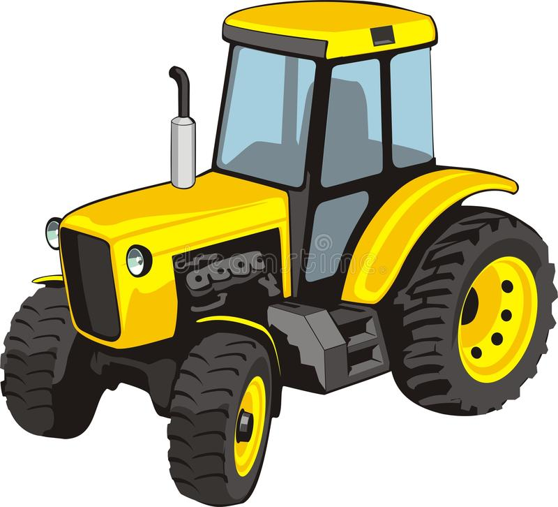 Tractor. Old yellow tractor for agricultural works stock illustration