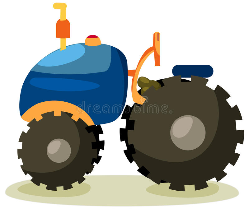 Tractor. Illustration of isolated cartoon tractor on white background stock illustration