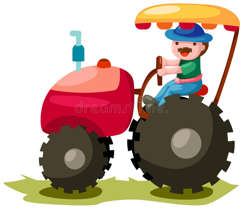 Tractor. Illustration of isolated famer driving tractor on white background royalty free illustration