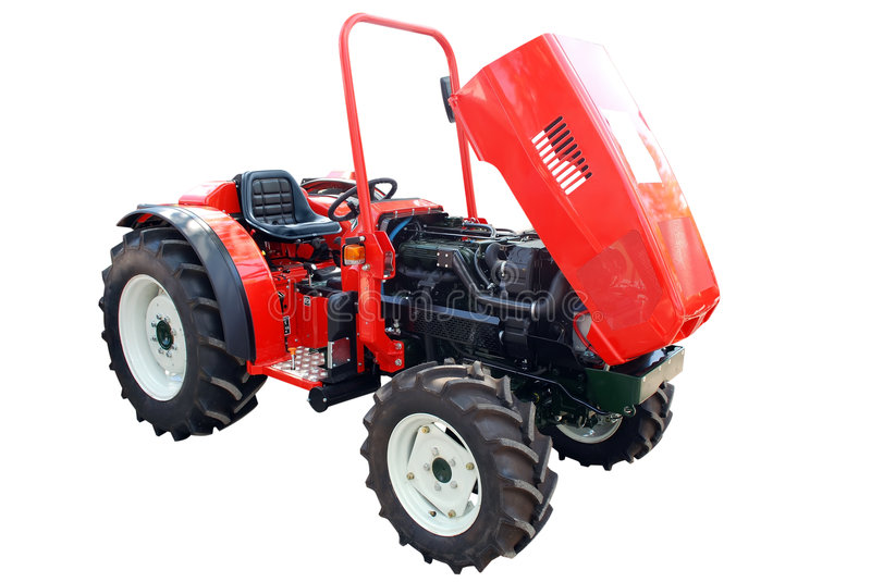 Tractor. With open engine isolated royalty free stock photography