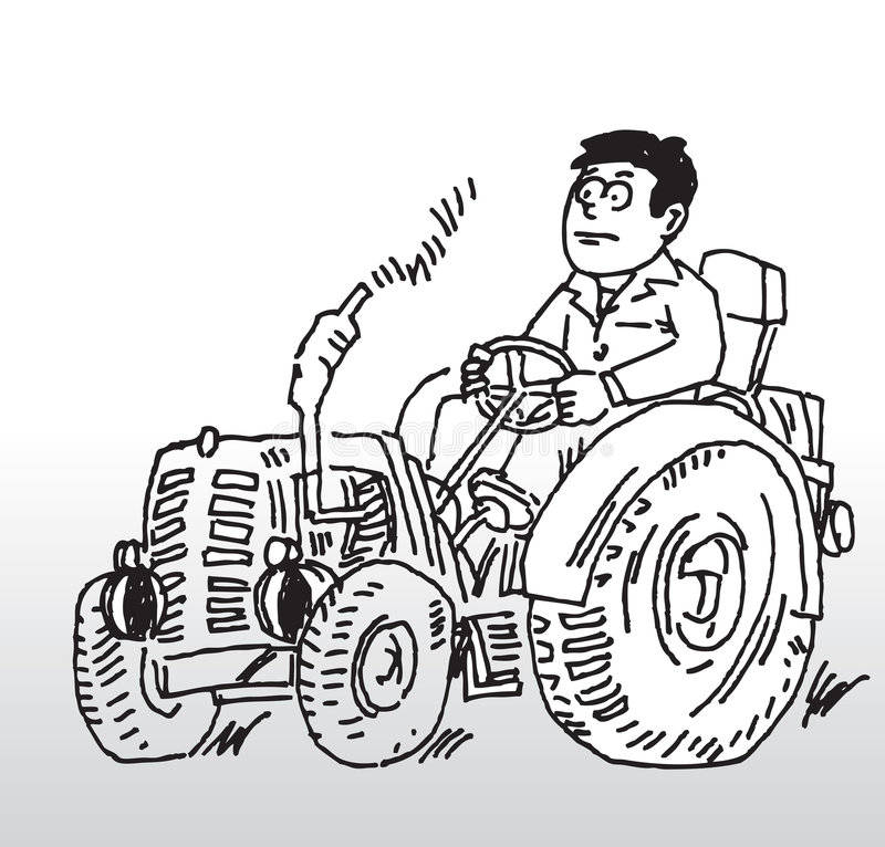 Tractor. Hand drawn illustration of a man driving a tractor vector illustration