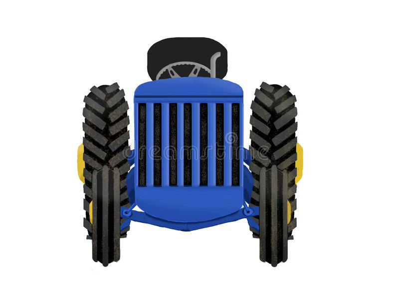 Tractor. The front view of a blue tractor stock illustration