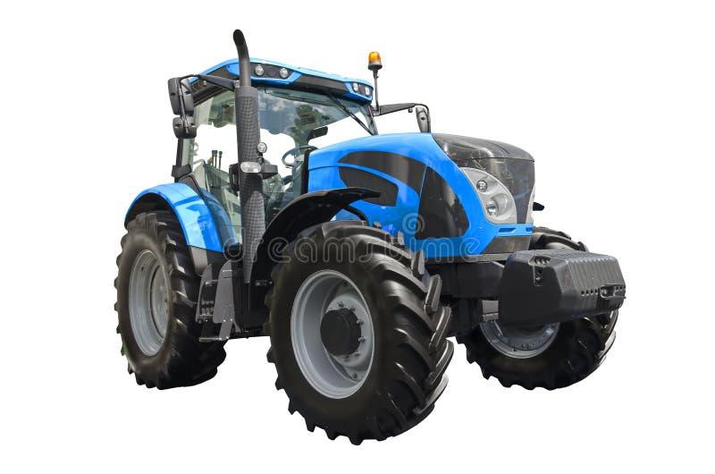 Tractor agrícola azul grande, vista delantera fotografía de archivo