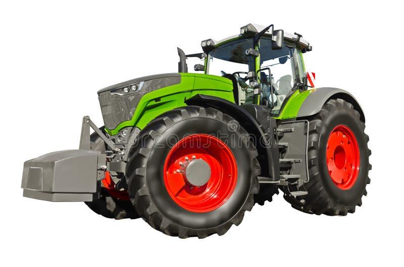 Tractor agrícola verde grande, vista delantera imágenes de archivo libres de regalías