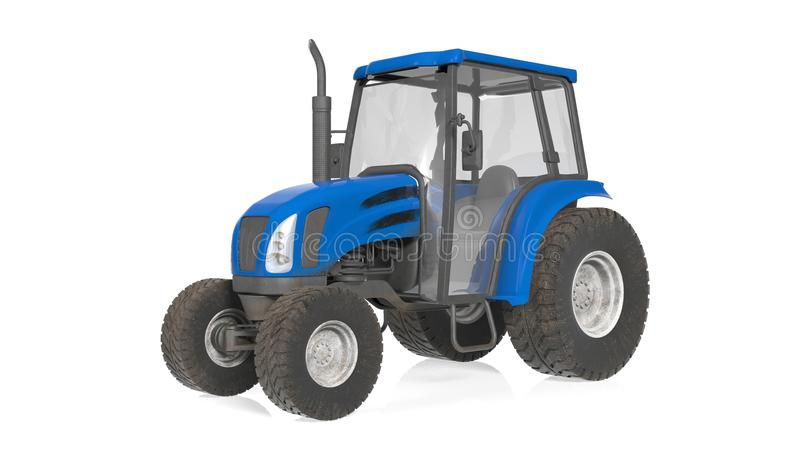 Tractor, agricultural equipment, vehicle isolated on white. Background, 3D illustration vector illustration