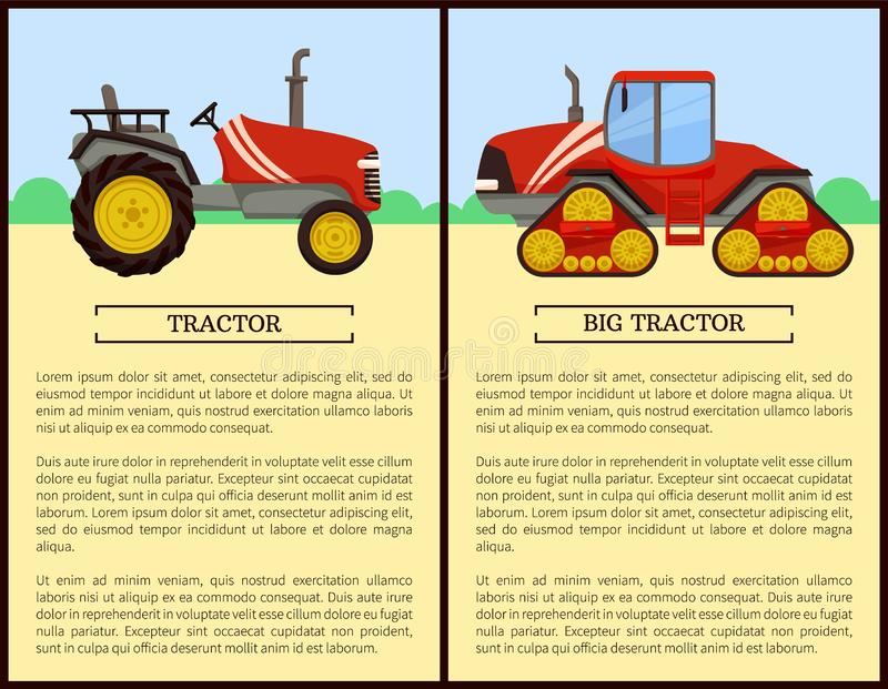 Tractor Agriculture Machines Vector Illustration. Tractor agriculture machines and vehicles used in farming. Field with bushes and machinery harvesting on land stock illustration