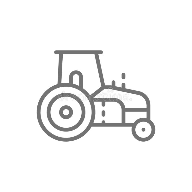 Tractor, agrimotor, heavy agricultural machinery line icon. vector illustration