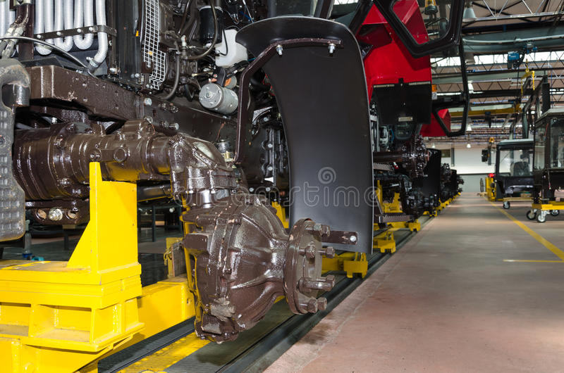 Tractor assembly line stock photography