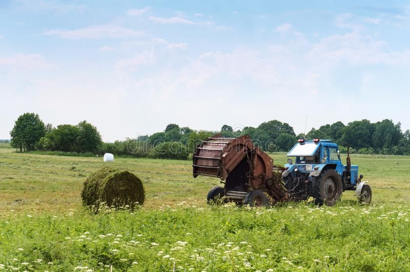 Tractor bale hay in field, blue tractor to collect hay in bales. Blue tractor to collect hay in bales, tractor bale hay in field, Slavsky district, Kaliningrad royalty free stock photos