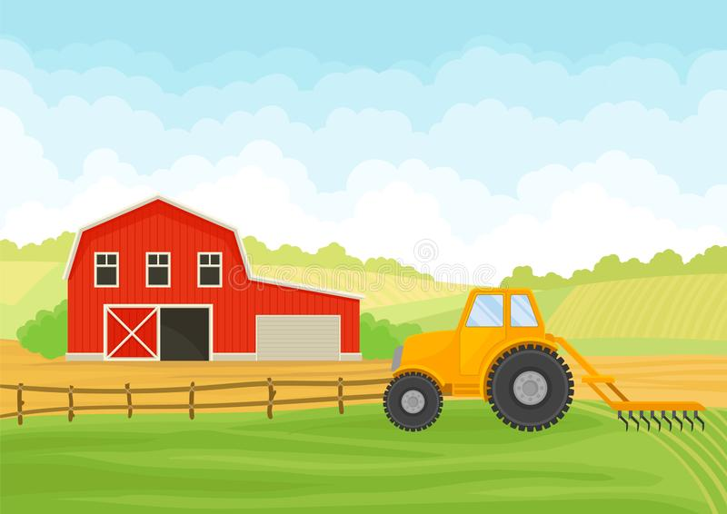 Tractor and barn in the field. Vector illustration on white background. Tractor with a plow and a red barn with a garage in the field. Vector illustration on stock illustration