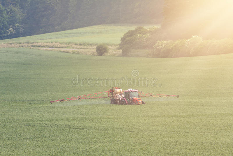 Tractor bespuitende pesticiden op groot groen gebied stock afbeelding