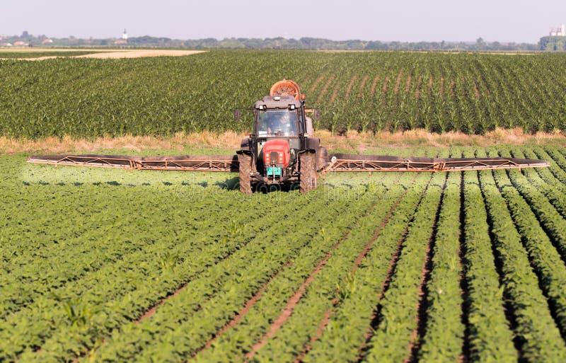 Tractor bespuitende pesticiden op sojaboongebied met spuitbus bij spr royalty-vrije stock fotografie