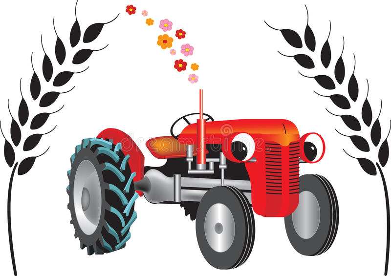 Tractor on bio diesel. In the harvest of natural products isolated on white background stock illustration