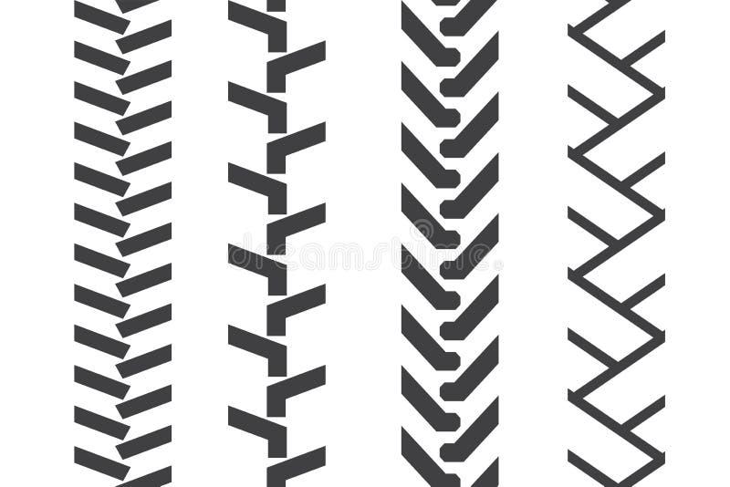 Tractor black tread. Tractor tread set. Vector seamless pattern vector illustration