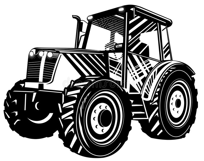 Tractor black and white. Vector art of a Tractor isolated on white royalty free illustration