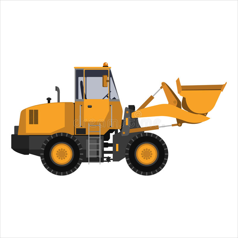 Tractor with a bucket. Powerful tractor, grader with bucket. on a white background. Heavy industry, engineering, construction. Flat design. Vector illustration stock illustration