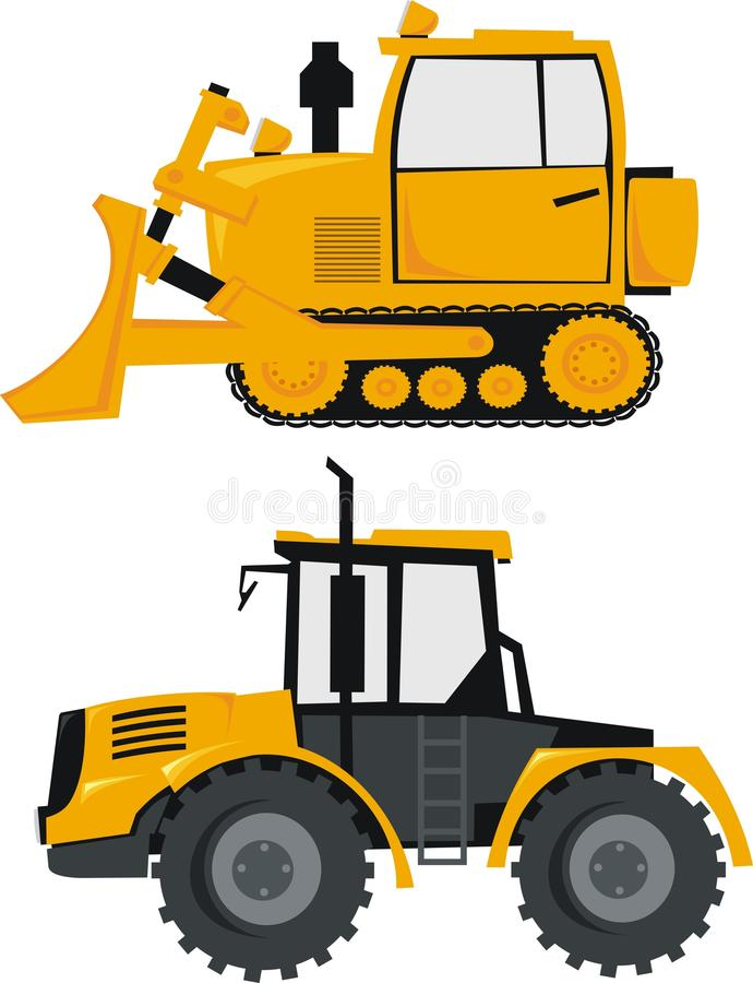 Tractor and a bulldozer