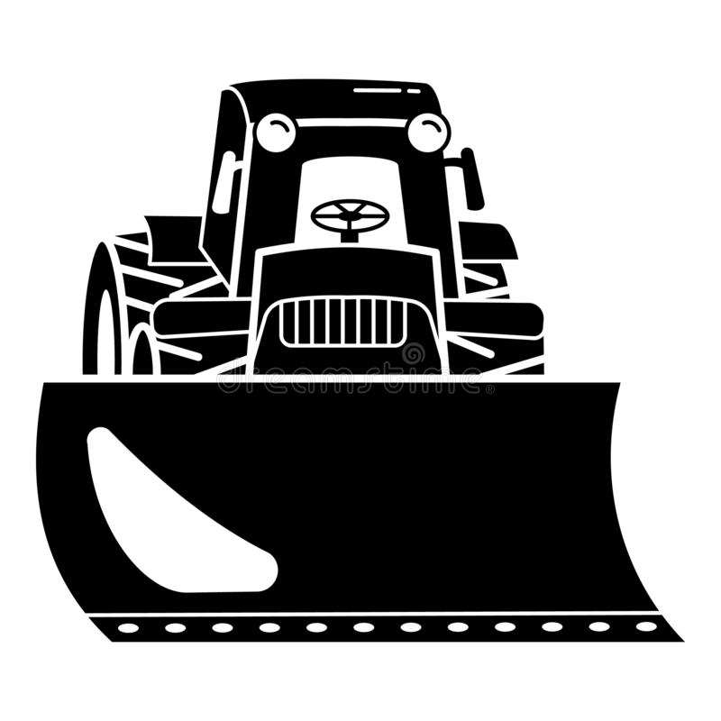 Tractor bulldozer icon, simple style. Tractor bulldozer icon. Simple illustration of tractor bulldozer vector icon for web design isolated on white background royalty free illustration