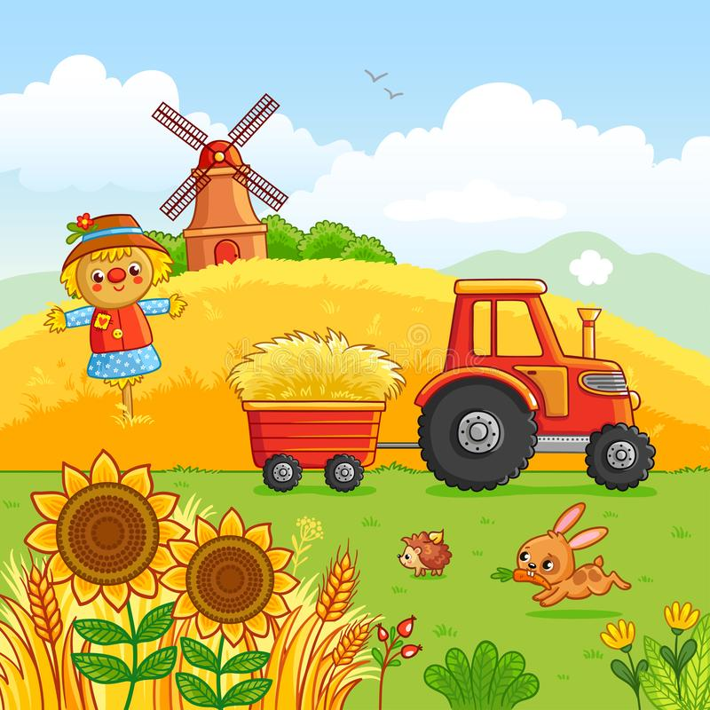 Tractor carries a hay. Tractor carries a hay in a cart through a meadow. Vector illustration with a farm technique in a cartoon style. It was laid out, mill and royalty free illustration