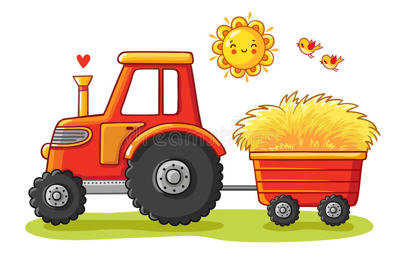 Tractor with a cart. The agricultural machinery transports hay. Vector illustration in a cartoon style stock illustration