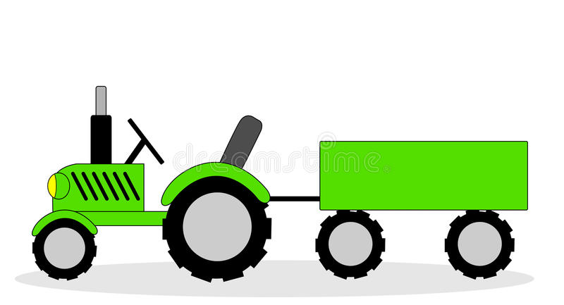 The tractor and cart on a white background stock illustration