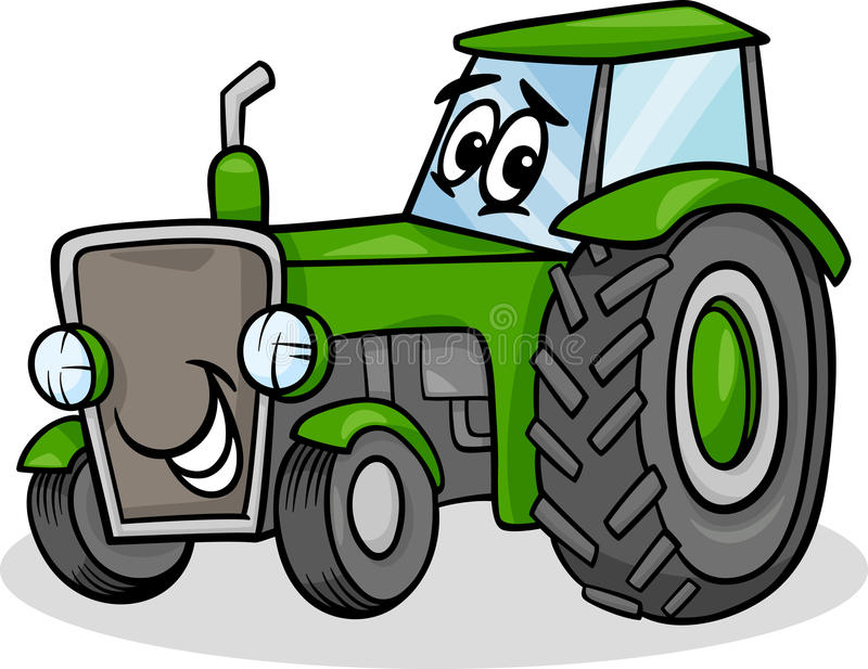 Tractor character cartoon illustration. Cartoon Illustration of Funny Farm Tractor Vehicle Comic Mascot Character vector illustration