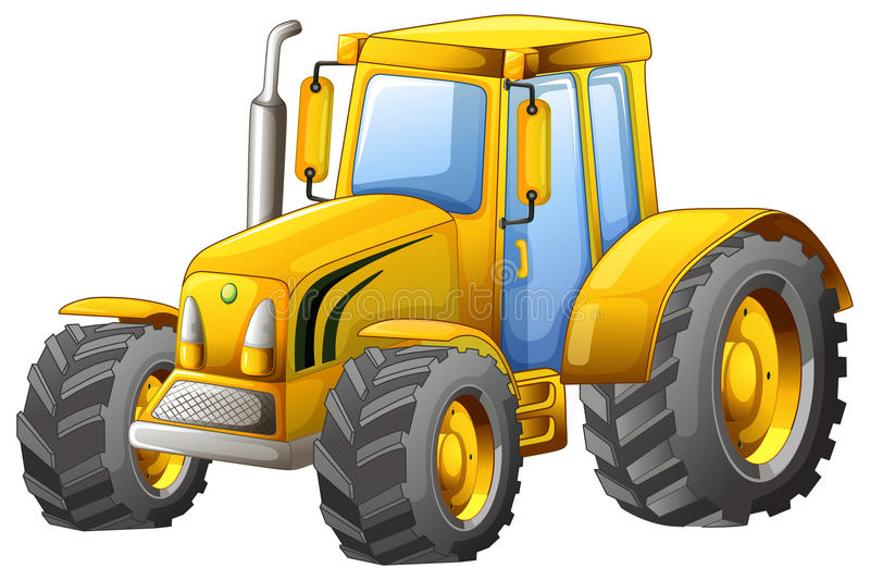 Tractor. Close up classic yellow tractor vector illustration