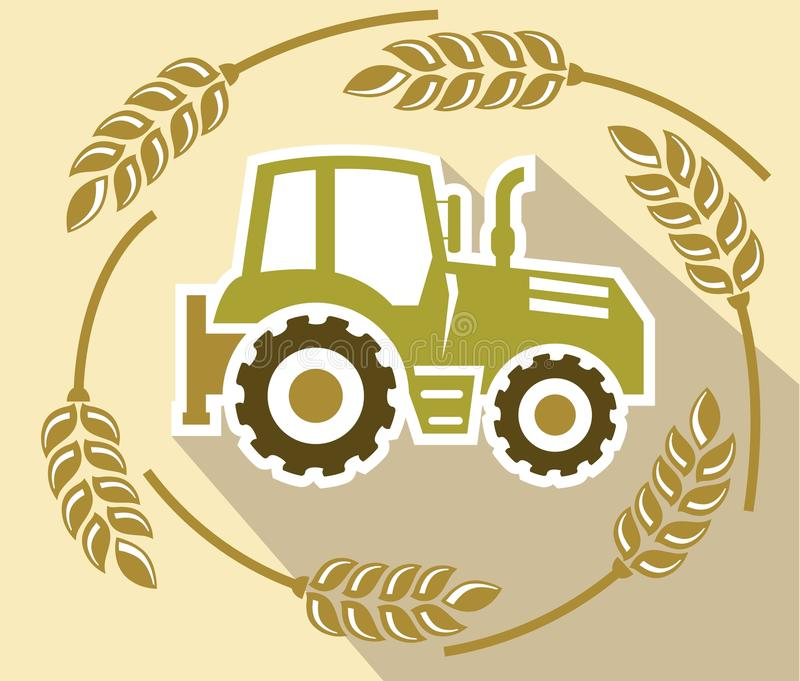 Tractor. Color icon on a beige background vector illustration