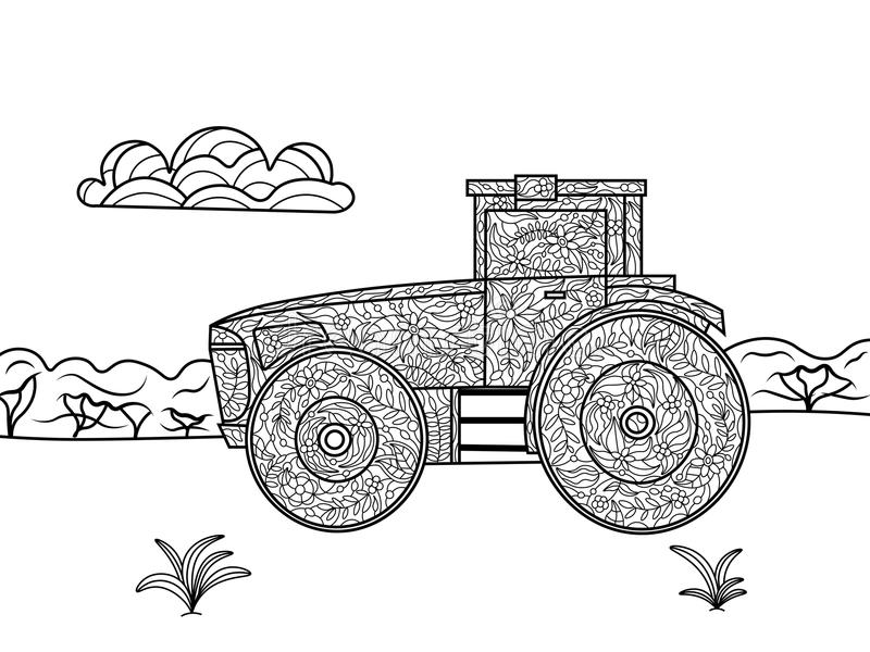 Tractor-coloring book stock vector. Illustration of chimney ...