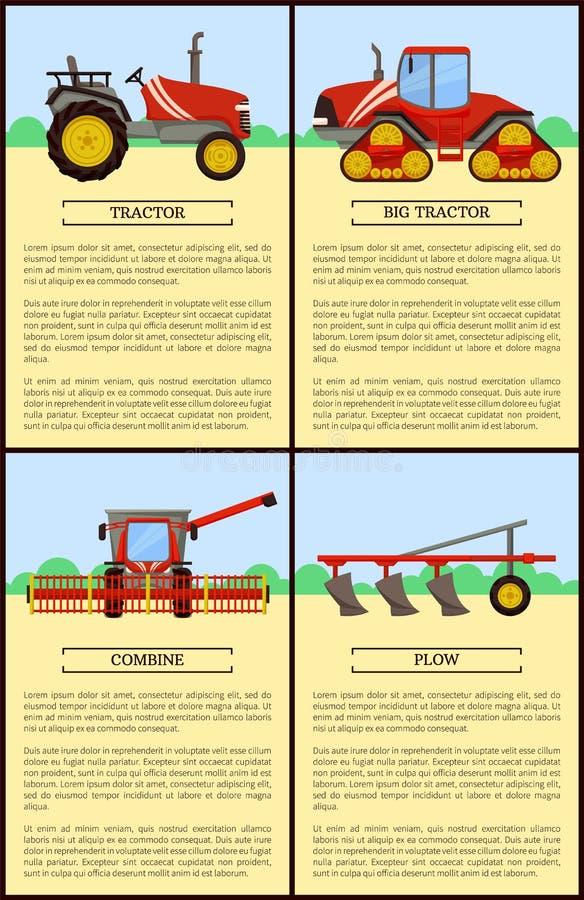 Tractor Combine Posters Set Vector Illustration vector illustration