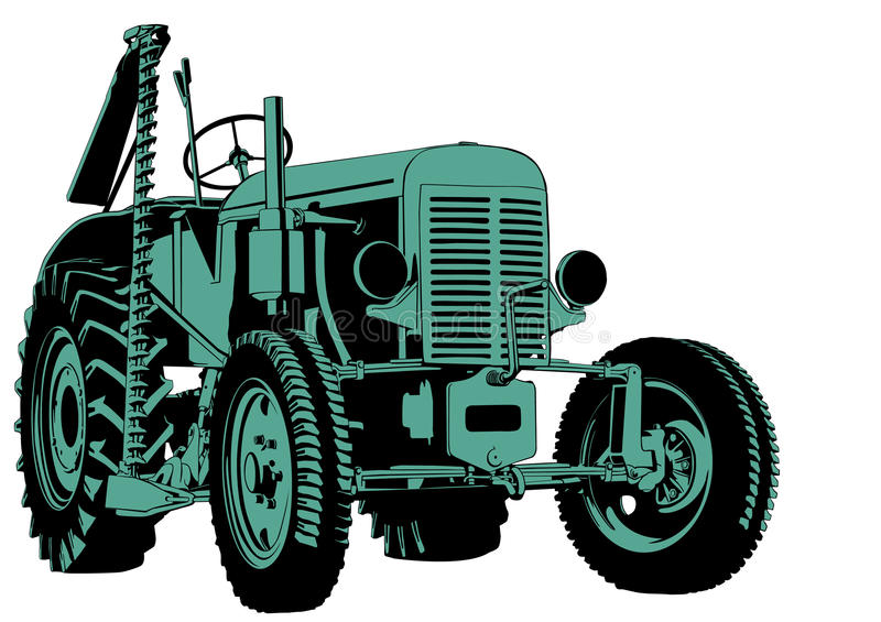 Tractor cutting vector illustration