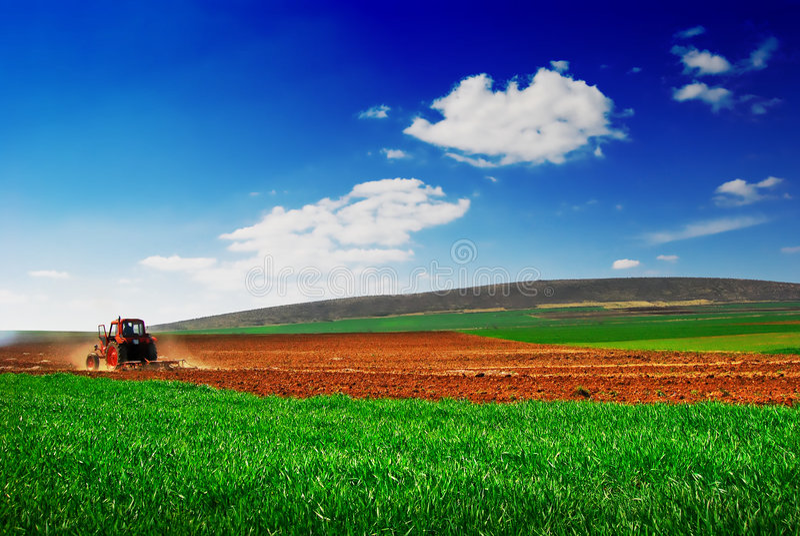 Tractor die 2 cultiveert