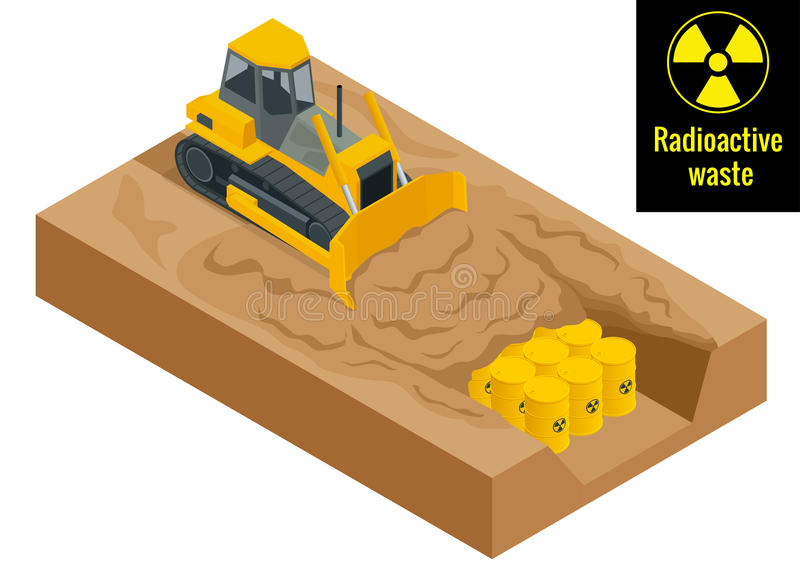 The tractor digs in drums with radioactive waste in yellow barrels. Radioactive danger concept. Flat 3d vector stock illustration