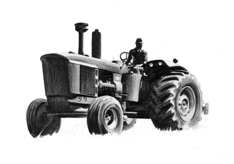 John deer tractor. Driver rides old tractor. Pencil drawing vector illustration