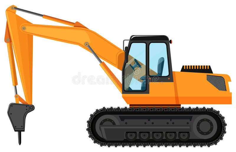 Tractor with drilling head vector illustration