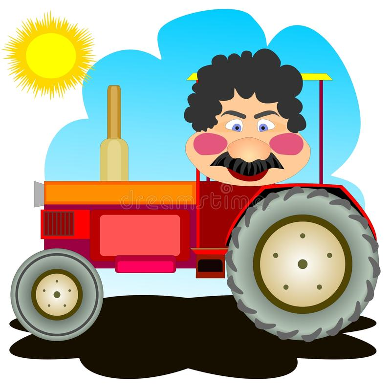 Tractor driver. Merry man driving tractor on sunny weather stock illustration